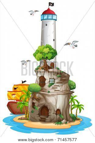 Illustration of a lighthouse on an island