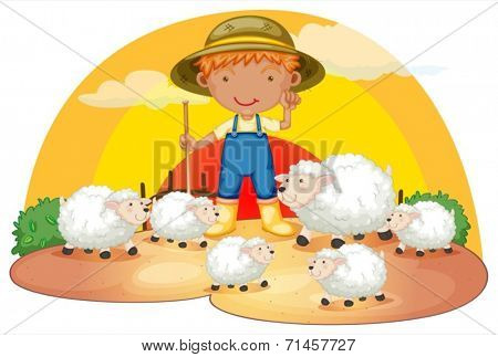 Illustration of a young boy with his sheeps on a white background