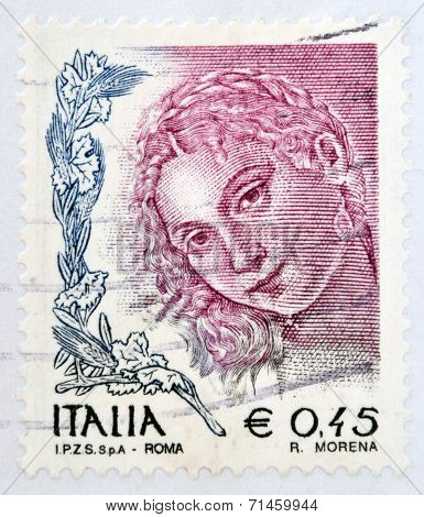 ITALY - CIRCA 2004: A stamp printed in Italy shows Woman portrait by Titian circa 2004