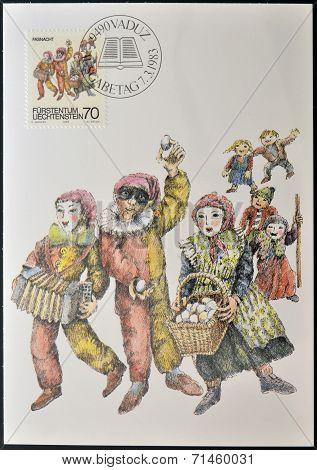 LIECHTENSTEIN -CIRCA 1983: stamp printed in Liechtenstein dedicated to Shrovetide and Lenten customs