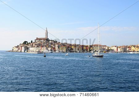 Rovinj Village And Adriatic Sea, In Croatia
