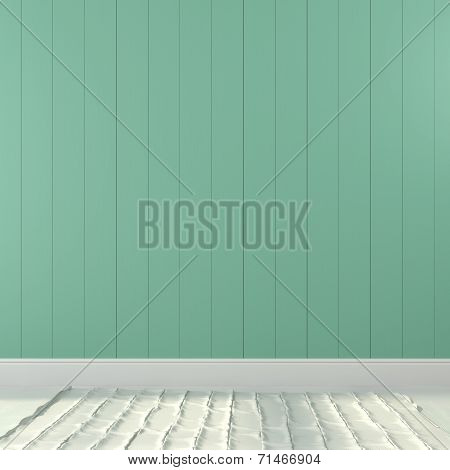 Background Of Turquoise Wall And A Light Floor
