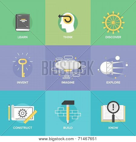 Creative Learning And Imagination Flat Icons