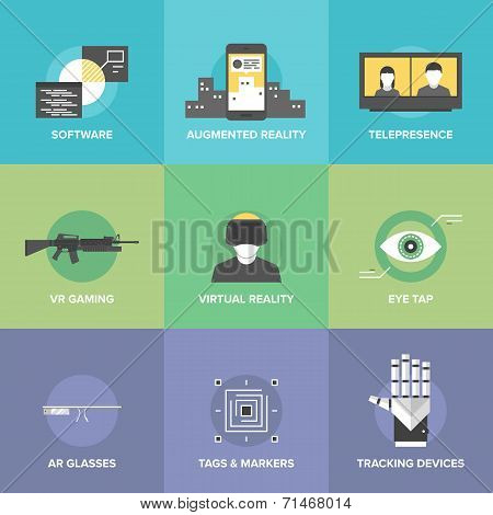 Flat icons set of augmented reality technology AR glasses and head-mounted display virtual reality gaming innovations and futuristic technologies. Modern design style vector illustration concept. poster