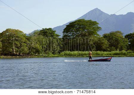 Lake Nicaragua on a background an active volcano Concepcion