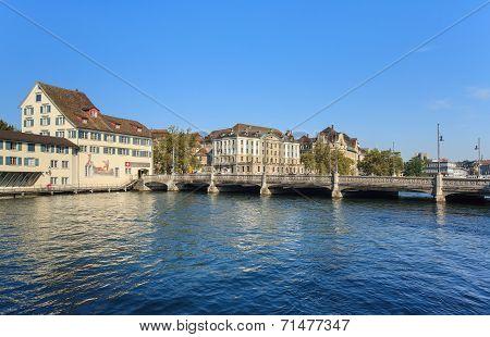 Zurich Cityscape With The Rudolf Brun Bridge