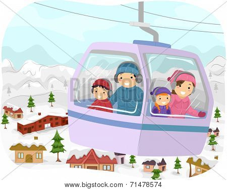 Illustration Featuring a Family in a Cable Car Checking Out the Snowy Slopes Below