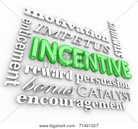 Incentive word in 3d letters on background with motivation, impetus, enticement, reward, persuasion, bonus, catalyst and encouragement