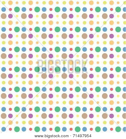 Color Dot Seamless Repeat Pattern On White Background