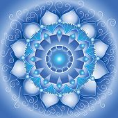 abstract blue pattern mandala of vishuddha chakra vector poster