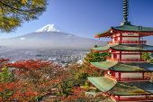 Mt. Fuji, Japan viewed from Chureito Pagoda in the autumn. poster