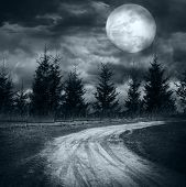 Magic landscape with empty rural road going to pine tree mysterious forest under dramatic cloudy sky at full moon night poster