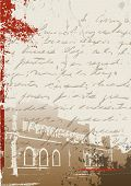 Antique grunge background wit an overprinted manuscript letter and a castle in the back. poster
