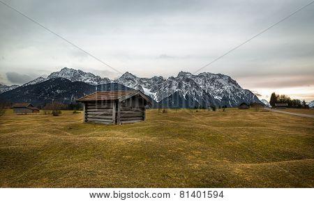 Barn in Alps near Krün, Buckelwiesen, Germany