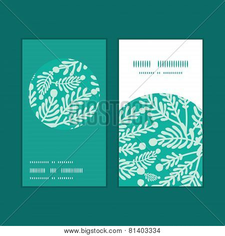 Vector emerald green plants vertical round frame pattern business cards set
