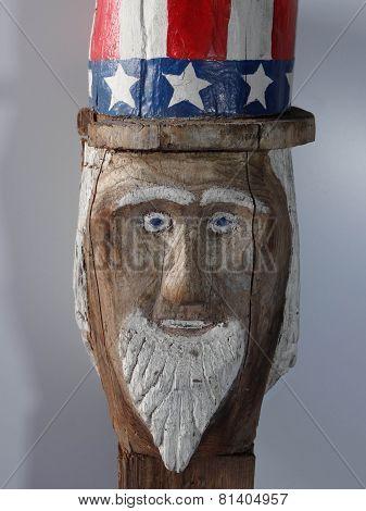 Uncle Sam Folk Art Carving