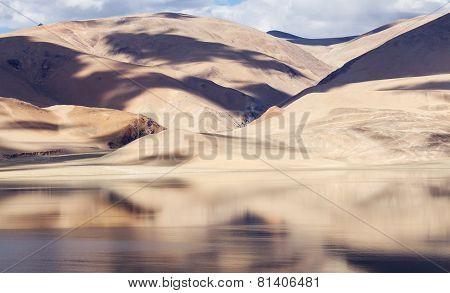 Tso Moriri Mountain Lake Panorama With Beautiful Reflections In The Lake