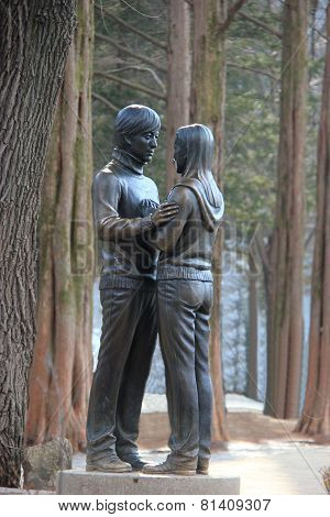 Statue Of Bae Yong-joon And Choi Ji-woo From Winter Sonata