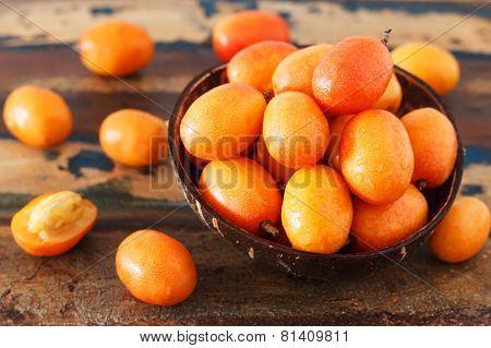 Fruit Jocote (red Mombin, Purple Mombin, Hog Plum, Ciruela Huesito, Sineguela,  Siriguela) In Bowl
