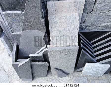 Stacks Of Granite Slabs In A Store