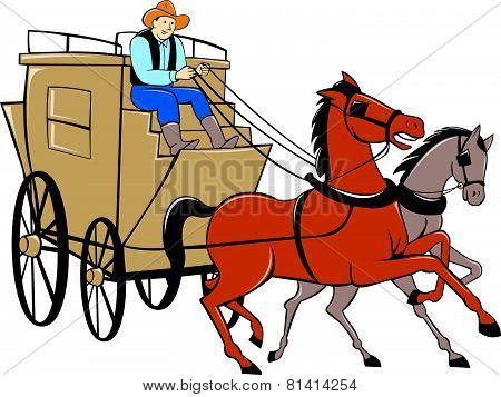Stagecoach Driver Horse Cartoon