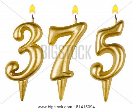 candles number three hundred seventy five isolated on white background poster