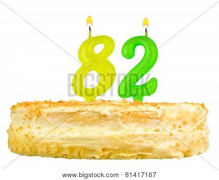 Birthday Cake With Candles Number Eighty Two