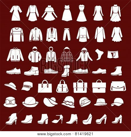 Set Icons Of Women Fashion Dresses And Men Clothing