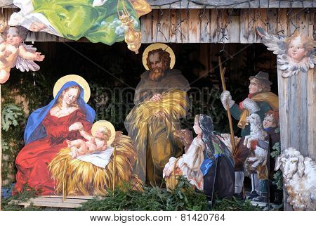 ST. GILGEN, AUSTRIA - DECEMBER 14: Nativity scene, creche or crib, is a depiction of the birth of Jesus in St. Gilgen on Wolfgang See lake, Austria on December 14, 2014.