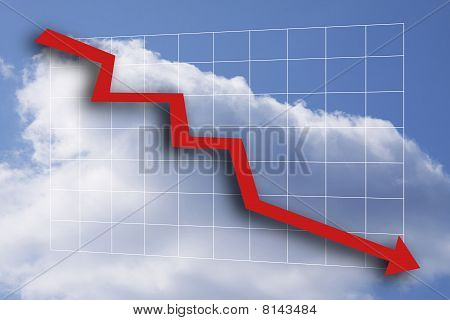 Business chart with arrow down