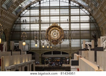 Golden clock of the museum D'Orsay in Paris France.