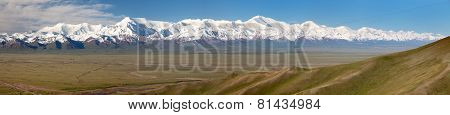 Panoramic View Of Pamir Mountain And Pik Lenin