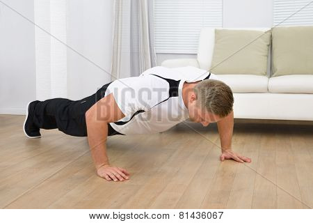 Healthy Fitness Man Doing Pushups