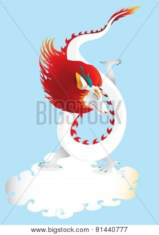 Dragon in the sky with cloud  vector