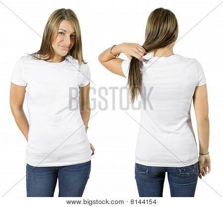 Female Wearing Blank White Shirt