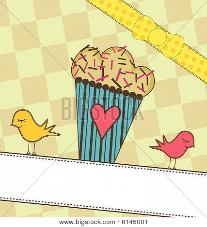 Cute Muffin with Birds