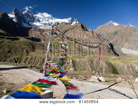 View Of Nun Kun Range With Buddhist Prayer Flags