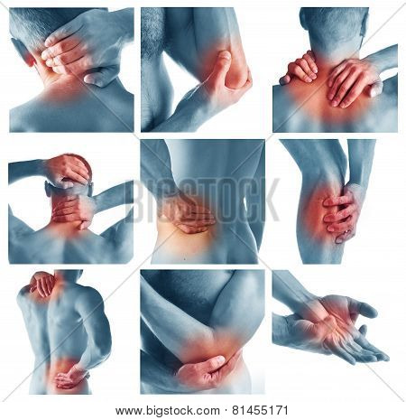 Collage representing man having pain at several part of body poster