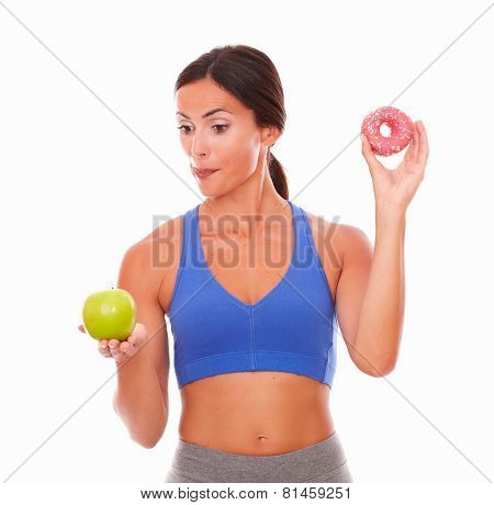 Slim Dieting Adult Woman Looking Hungry