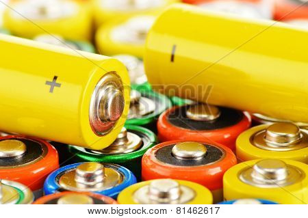Composition with different alkaline batteries, chemical waste concept. poster