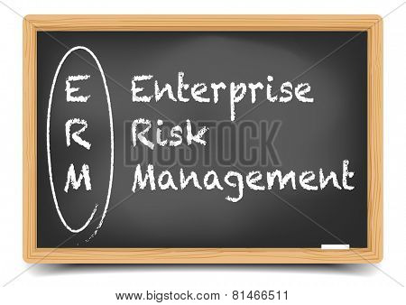 detailed illustration of a blackboard with ERM business term explanation, eps10 vector, gradient mesh included