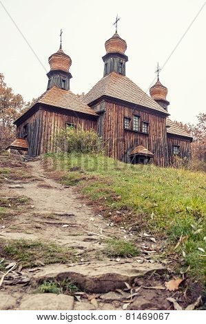 A typical ukrainian antique orthodox church in Pirogovo near Kiev poster
