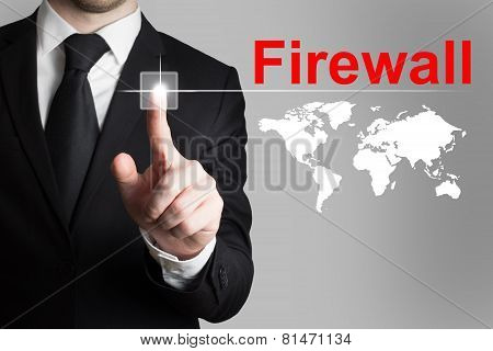 Businessman Pushing Button Firewall Global Internet