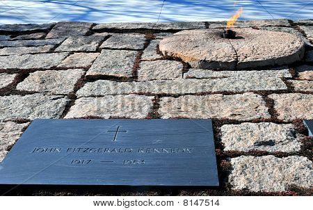 The Eternal Flame at John F. Kennedy grave site in Arlington Cemetery poster