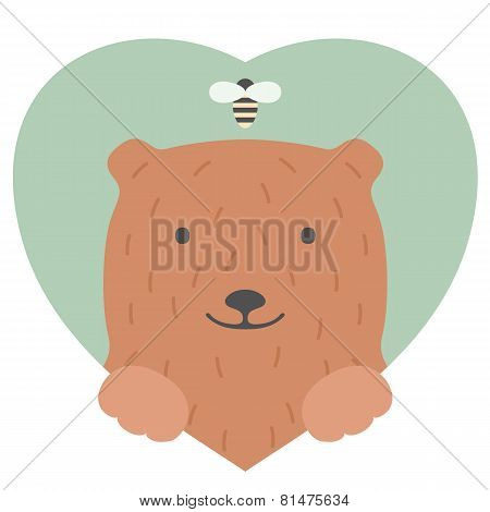 Animal set. Portrait of a bear in love in flat graphics