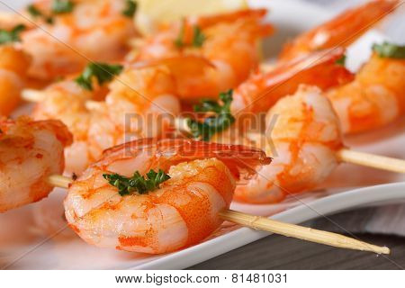 Delicious Grilled Shrimp On Wooden Skewers Macro. Horizontal