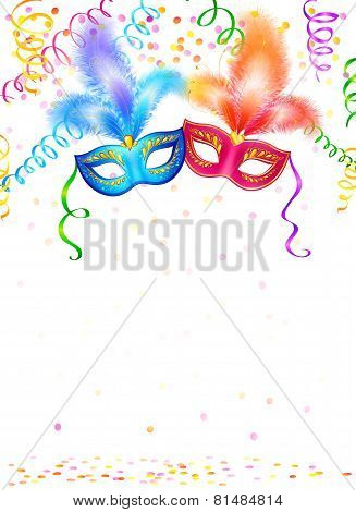 Bright carnival masks with confetti and serpentine on white background