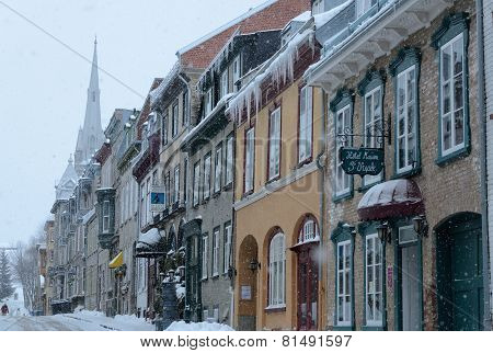 Blizzard In Old Quebec City