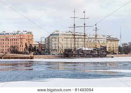 big sailing-ship at the harbor in winter st.petersburg russia poster