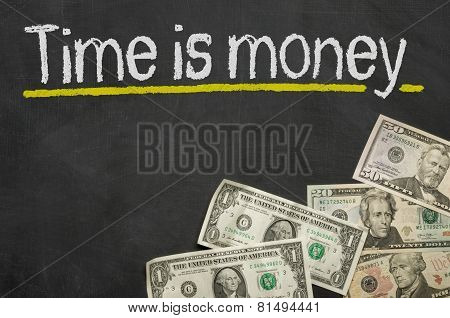 Text on blackboard with money - Time is money